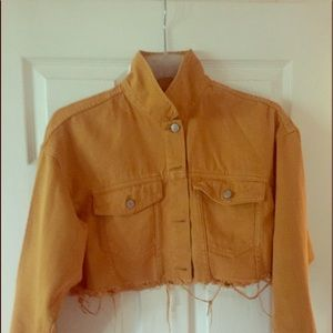 Denim Jacket - Mustard Brown - Cut Off